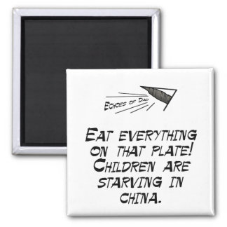 Children are starving 2 inch square magnet