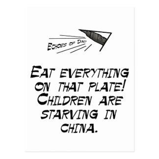 Children are starving postcard