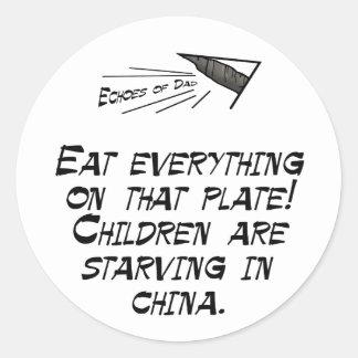 Children are starving classic round sticker