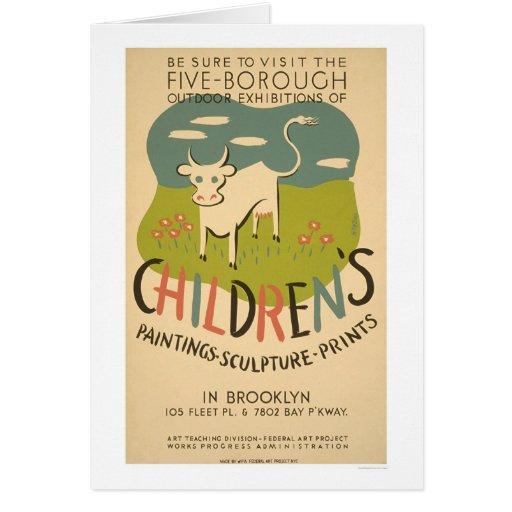 Children Art Brooklyn 1938 WPA Cards
