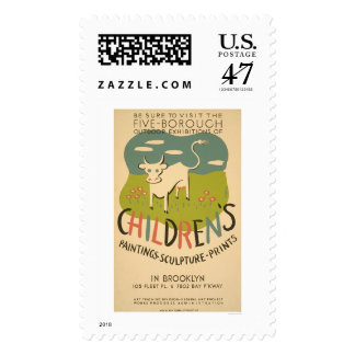 Children Art Brooklyn 1938 WPA Postage