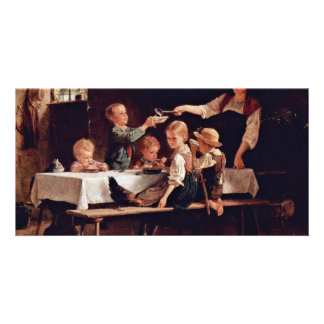 Children At Lunch By Benjamin Vautier Best Quali Photo Card