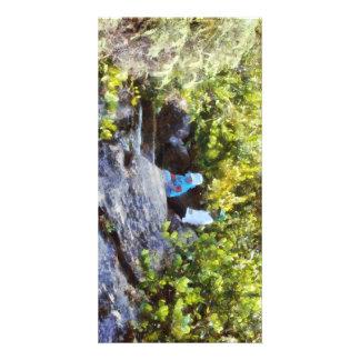 Children at natural pool photo card