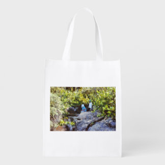 Children at natural pool reusable grocery bags
