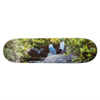 Children at natural pool custom skate board