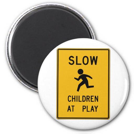 Children At Play Street Sign Fridge Magnet