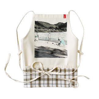 Children at the beach zazzle HEART apron