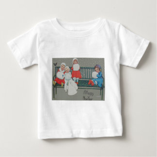 Children Bench Bird Snow Winter Infant T-shirt