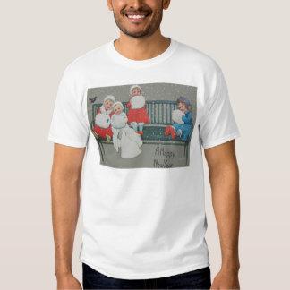 Children Bench Bird Snow Winter T Shirt