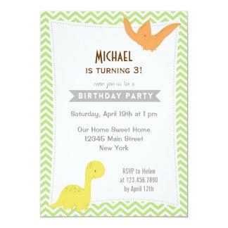 Children Birthday Party Invitation Dino Chevron
