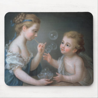 Children blowing bubbles mouse pad