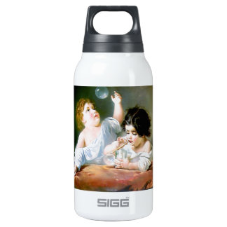 Children Blowing Bubbles Painting Insulated Water Bottle