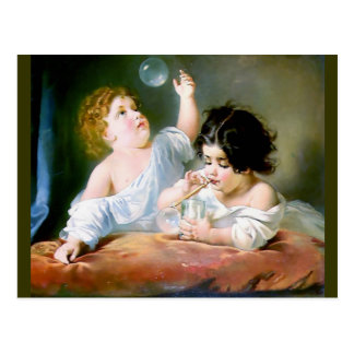 Children Blowing Bubbles Painting Postcard