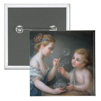 Children blowing bubbles pinback button