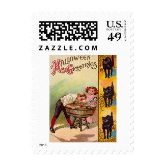 Children Bobbing For Apples Black Cat Postage Stamps