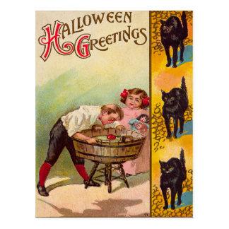 Children Bobbing For Apples Black Cat Postcard