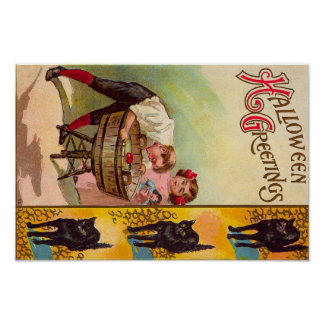 Children Bobbing For Apples Black Cat Poster