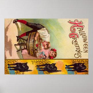 Children Bobbing For Apples Black Cat Poster