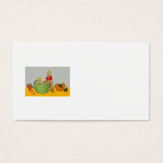 Children Bobbing For Apples Jack O' Lantern Business Card
