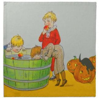 Children Bobbing For Apples Jack O' Lantern Cloth Napkin