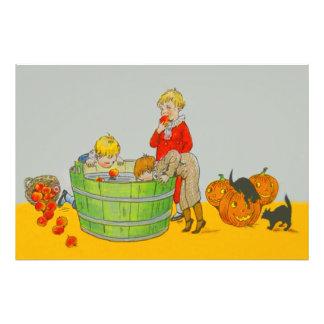 Children Bobbing For Apples Jack O' Lantern Photo Print