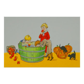 Children Bobbing For Apples Jack O' Lantern Poster