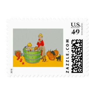 Children Bobbing For Apples Jack O' Lantern Stamps