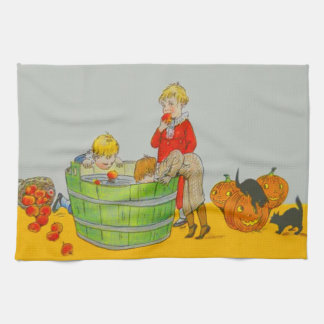Children Bobbing For Apples Jack O' Lantern Towel
