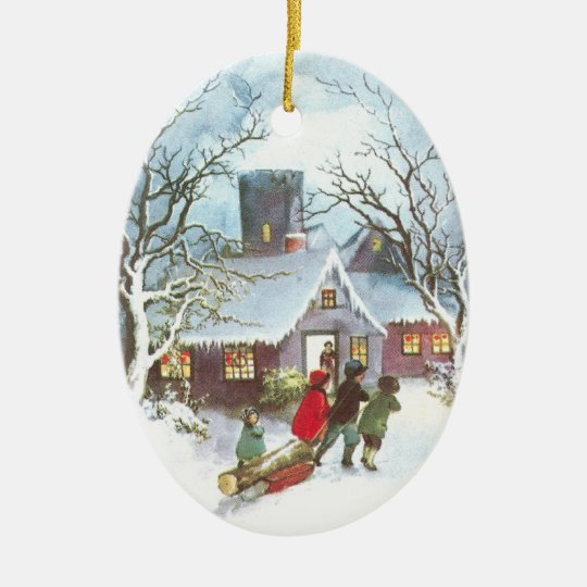 Children Bring Home Yule Log Vintage Christmas Ceramic Ornament
