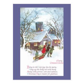 Children Bring Home Yule Log Vintage Christmas Postcards