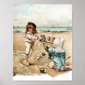 Children Build Vintage Sandcastle Poster