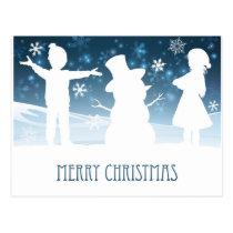 Children Building Snowman Christmas Scene Postcard