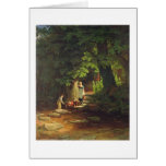Children by a Brook, c.1822 (oil on panel) Card