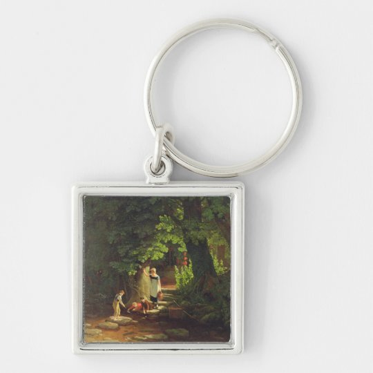 Children by a Brook, c.1822 (oil on panel) Keychain
