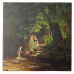 Children by a Brook, c.1822 (oil on panel) Tile