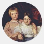 Children By Ferdinand Georg Waldmüller Round Sticker