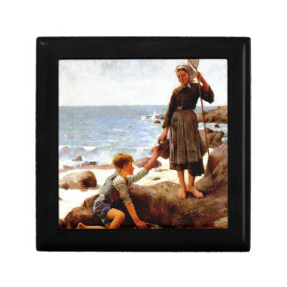 Children by the sea painting jewelry boxes