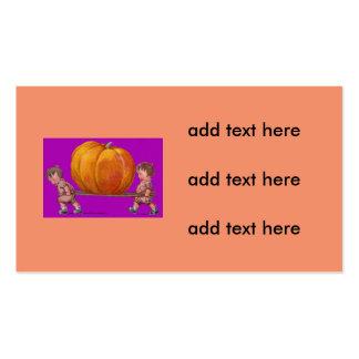 Children Carrying Giant Pumpkin Purple Business Card
