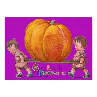 Children Carrying Giant Pumpkin Purple Card