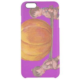 Children Carrying Giant Pumpkin Purple Clear iPhone 6 Plus Case