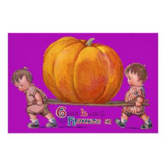 Children Carrying Giant Pumpkin Purple Photo Print