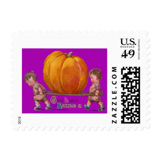 Children Carrying Giant Pumpkin Purple Postage