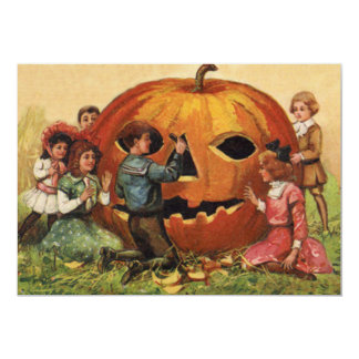 Children Carving Jack O Lantern Pumpkin Card
