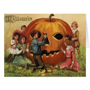 Halloween Themed Children Carving Jack O Lantern Pumpkin Card