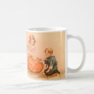 Children Carving Jack O Lantern Pumpkin Coffee Mug