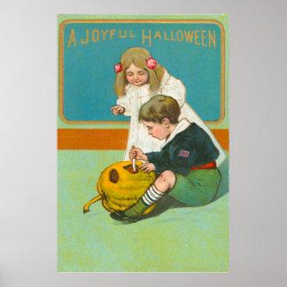 Children Carving Jack O Lantern Pumpkin Poster