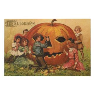 Children Carving Jack O Lantern Pumpkin Wood Prints