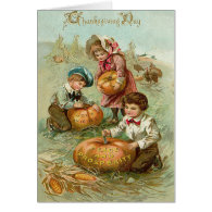 Children Carving Pumpkins Corn Haystack Card