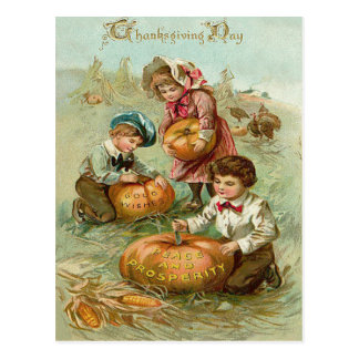 Children Carving Pumpkins Corn Haystack Postcard