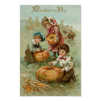 Children Carving Pumpkins Turkey Haystack Corn Poster